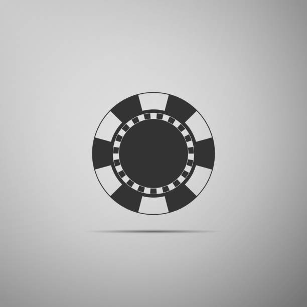 Casino chip icon isolated on grey background. Flat design. Vector Illustration Casino chip icon isolated on grey background. Flat design. Vector Illustration gambling chip stock illustrations