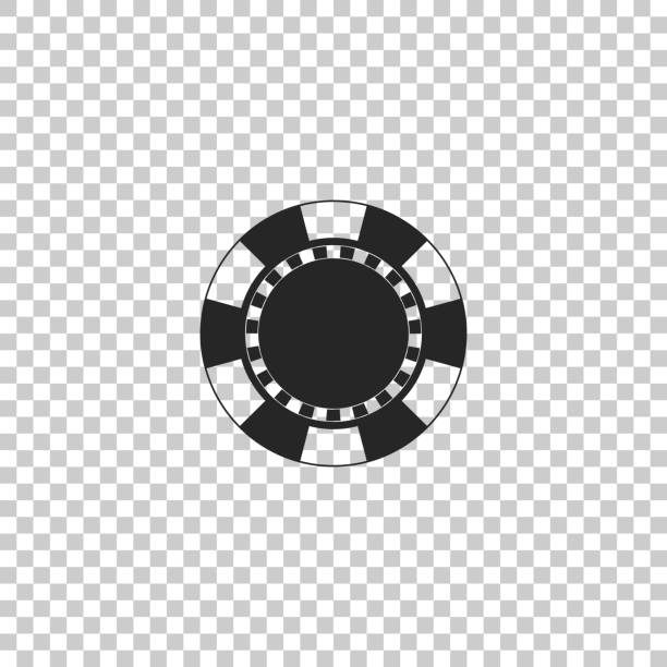 Casino chip icon isolated on transparent background. Flat design. Vector Illustration Casino chip icon isolated on transparent background. Flat design. Vector Illustration gambling chip stock illustrations