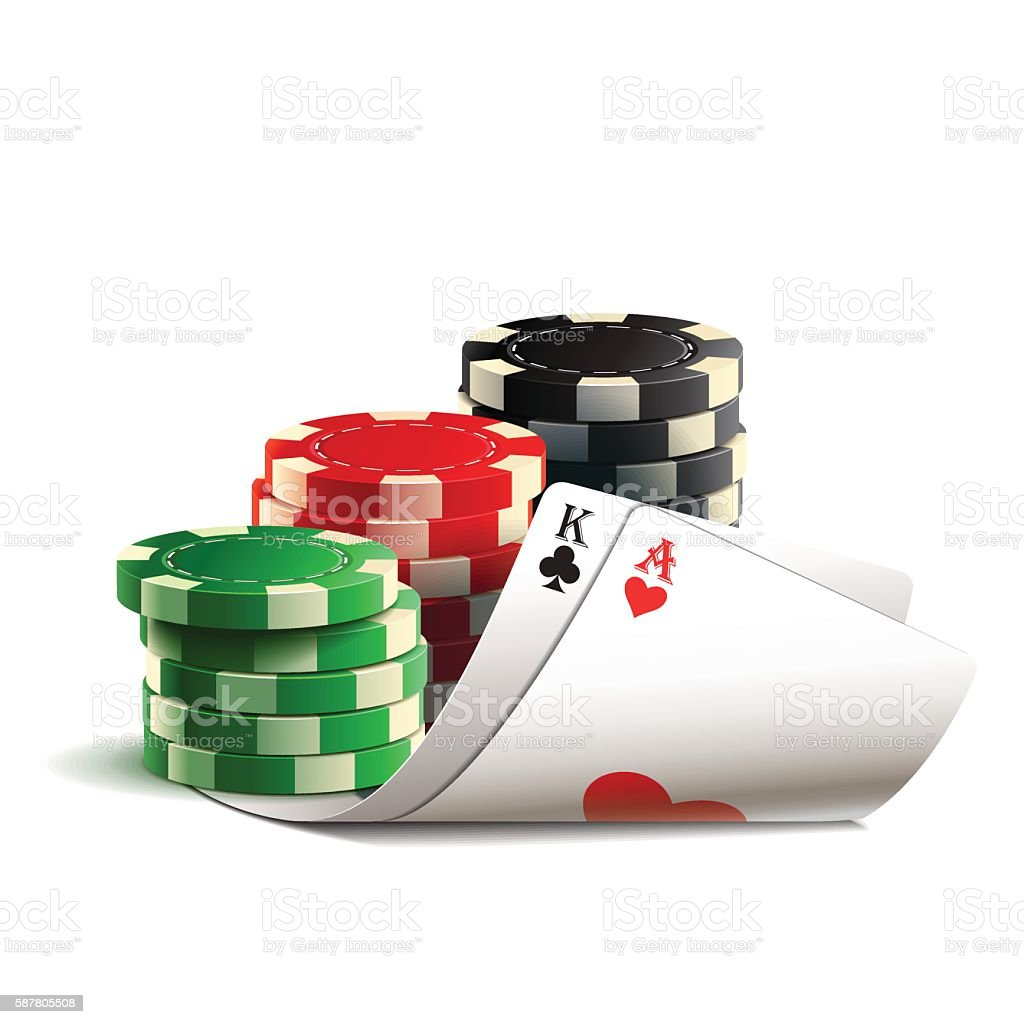 Casino chips and cards. vector art illustration