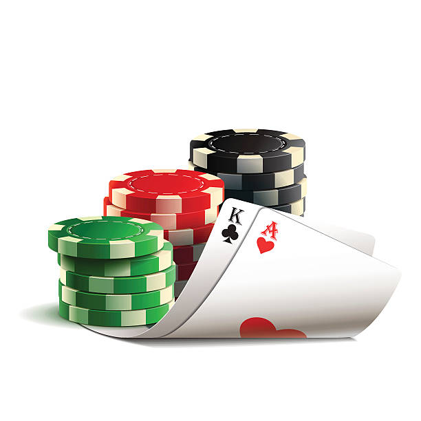 Casino chips and cards. Casino chips and cards isolated on a white background. gambling chip stock illustrations
