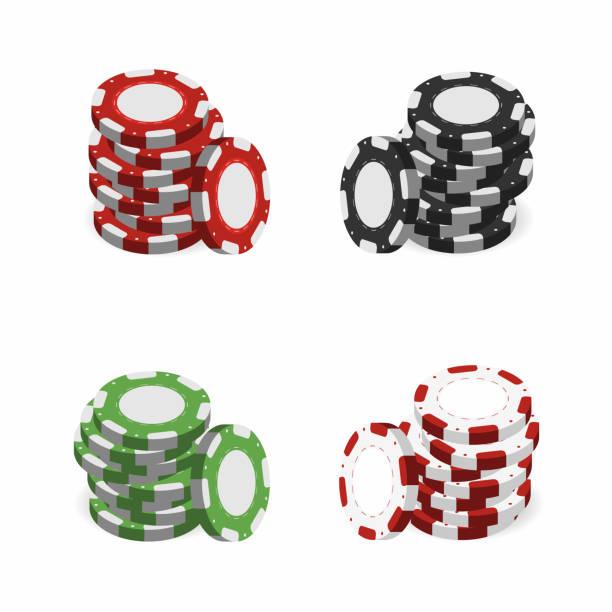 카지노 칩 스택 흰색 배경에 고립에서. 현실적인 3d 도박 칩 - 토큰 stock illustrations