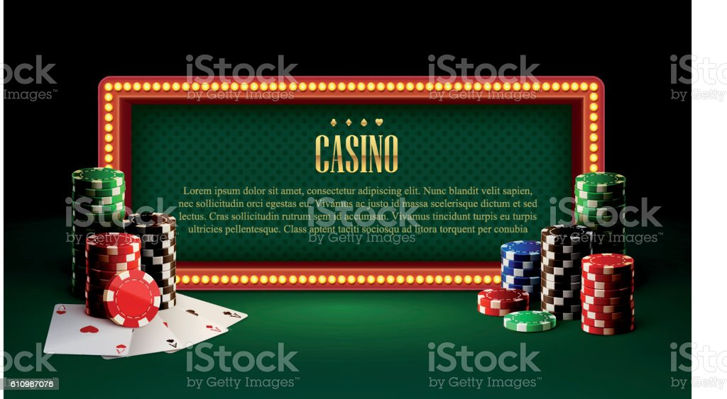 casino chips lamp vintage banner and cards vector art illustration