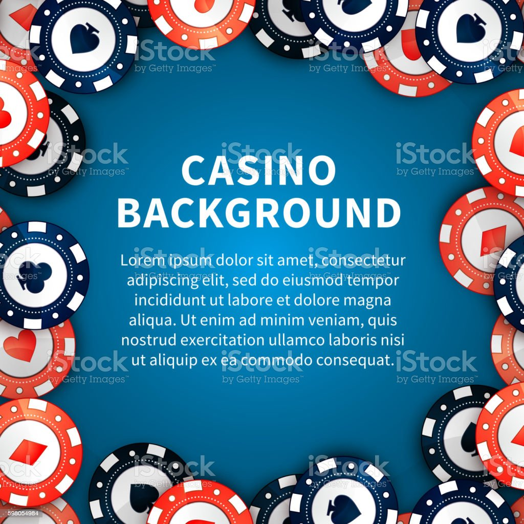 Casino chips on table, background with text template vector art illustration