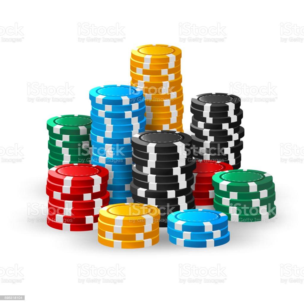 Casino chips stacks vector art illustration