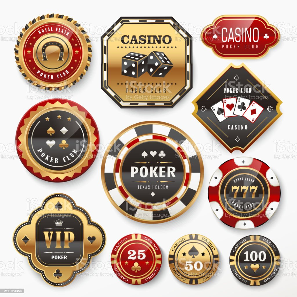 casino club labels collection vector art illustration