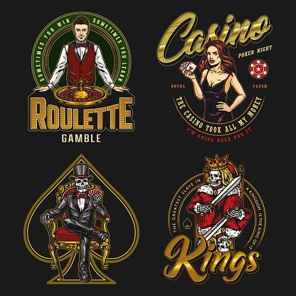 Casino colorful vintage badges