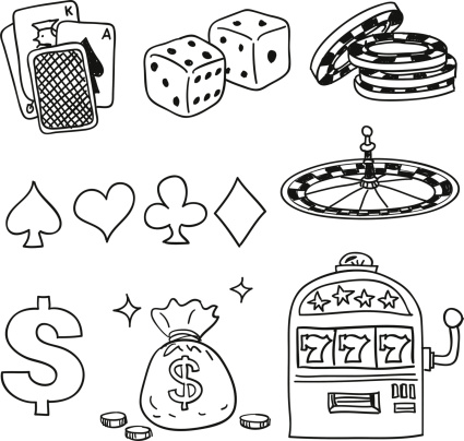 Casino components icons in black white