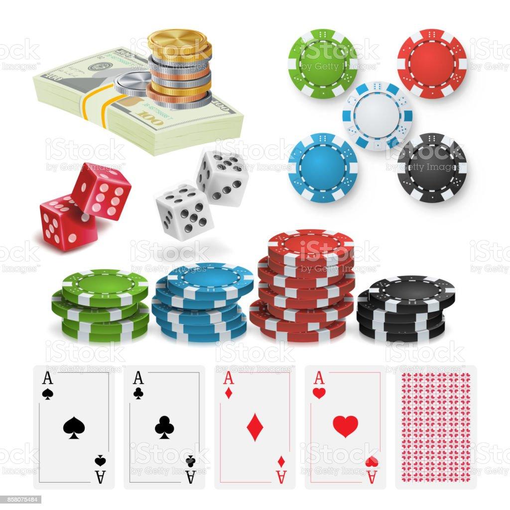 Vector de elementos de diseño de Casino. Poker fichas, naipes, dados. Aislados ilustración - ilustración de arte vectorial