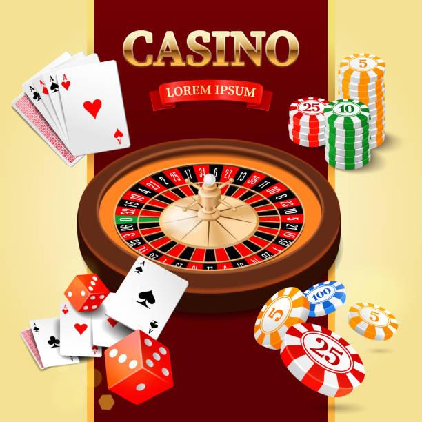 Casino-design-Elemente mit roulette, craps und chips, Karten – Vektorgrafik