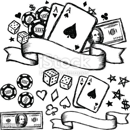Black and white hand drawn gambling themed design.  All design elements are included separately.