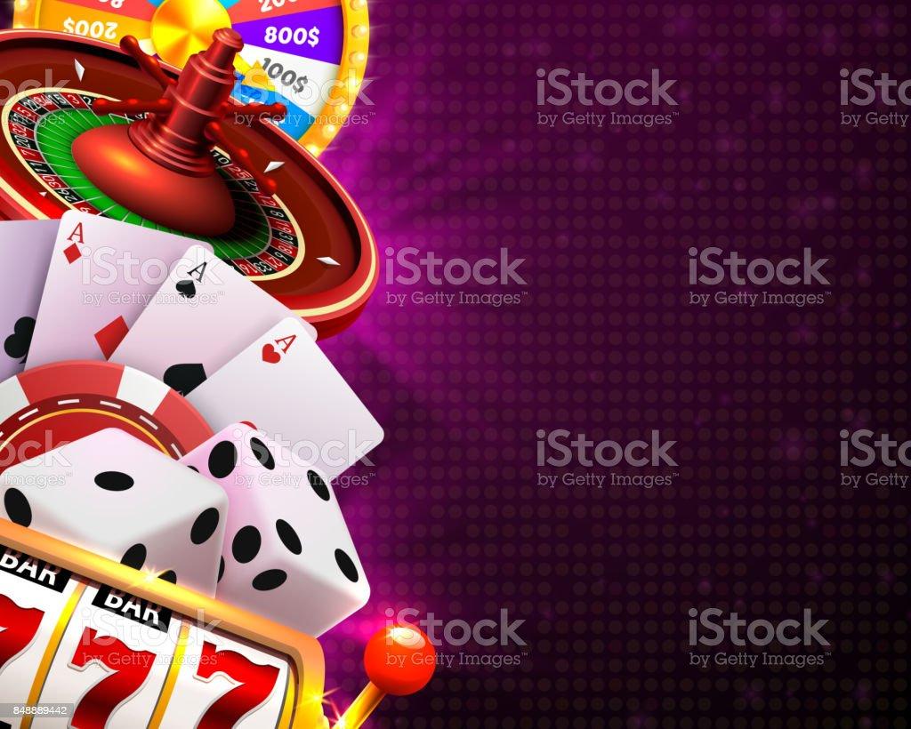 Dados del Casino banner letrero en fondo. - ilustración de arte vectorial