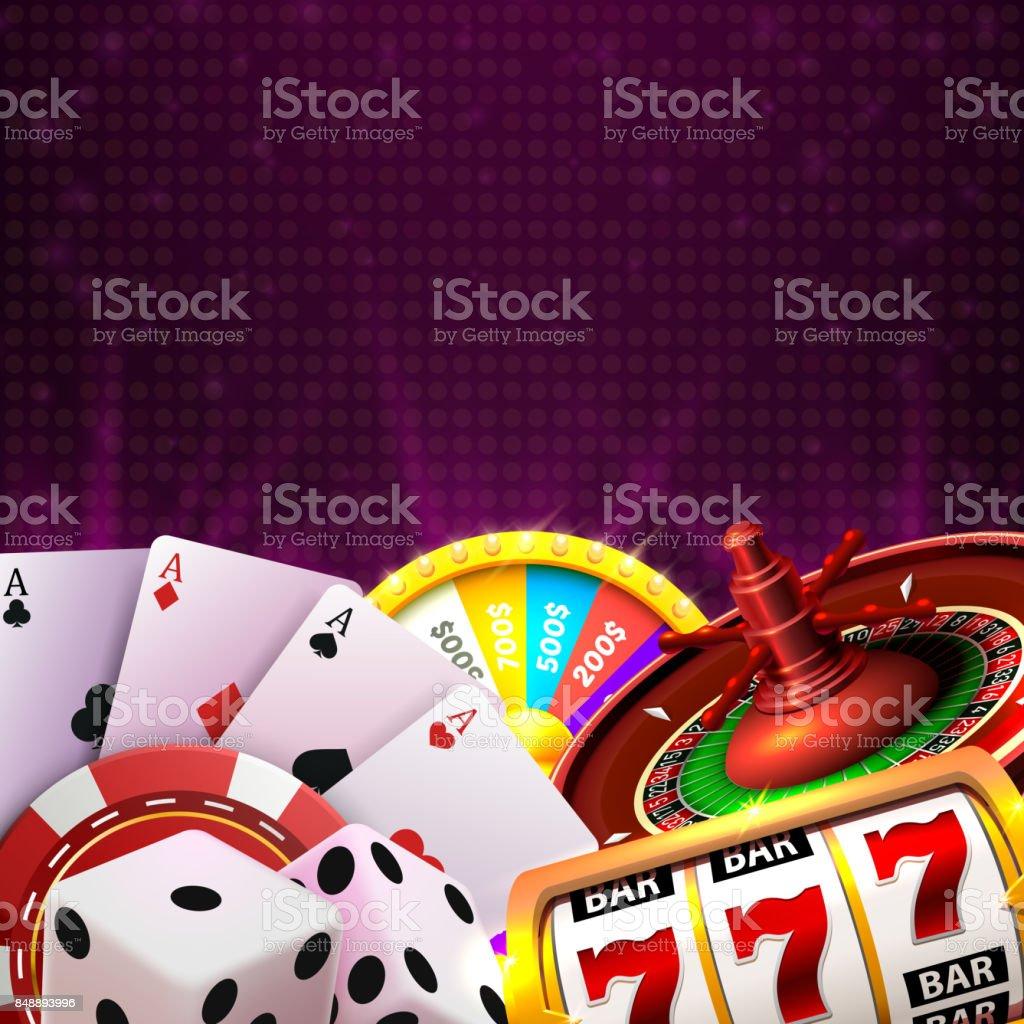 カジノダイス バナー、背景の看板です。 ベクターアートイラスト