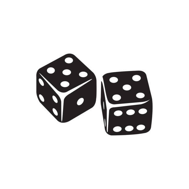 stockillustraties, clipart, cartoons en iconen met casino dice icoon in platte stijl vector icoon voor apps, ui, websites. zwarte icoon vector illustratie. - dobbelsteen