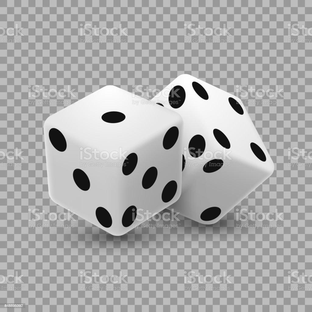 Casino dice on a transparent background. vector art illustration