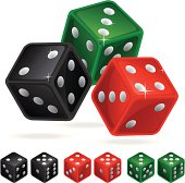 Vector illustration of the rolling casino dice in 3 different colors with 2 combinations below.