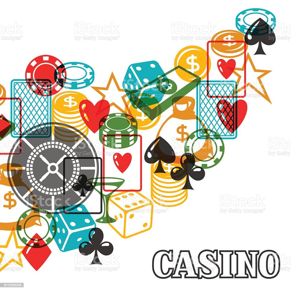 Casino gambling background design with game objects vector art illustration