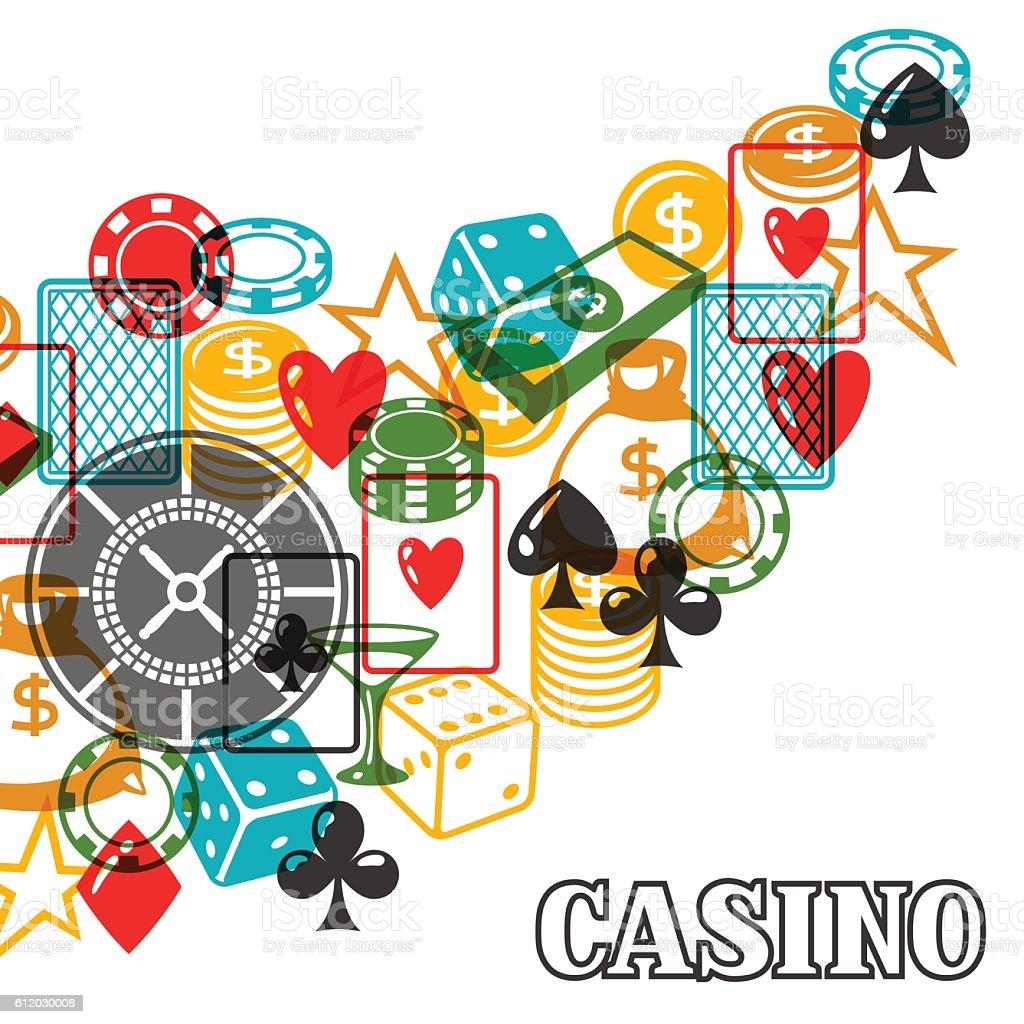 Casino gambling background design with game objects - ilustração de arte em vetor
