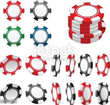 Casino gambling chips in different positions