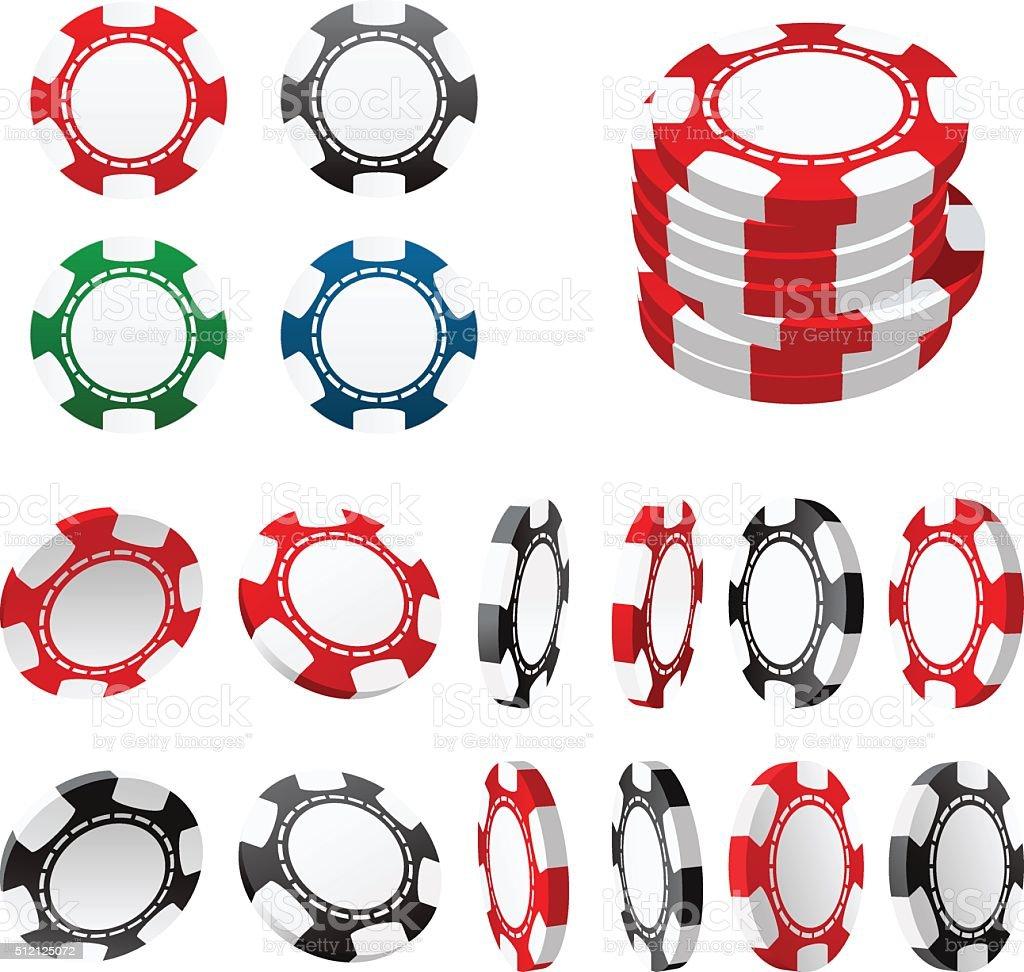 Casino gambling chips in different positions vector art illustration