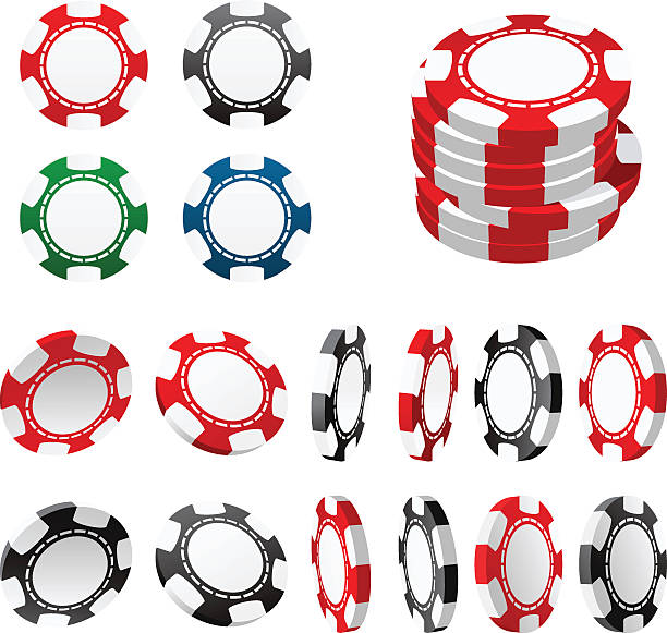 Casino gambling chips in different positions Casino gambling chips in different positions gambling chip stock illustrations