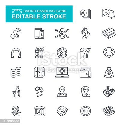istock Casino Gambling Editable Stroke Icons 927888638