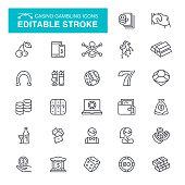 Casino, Gambling, Internet, Number 7, Editable Stroke Icon Set