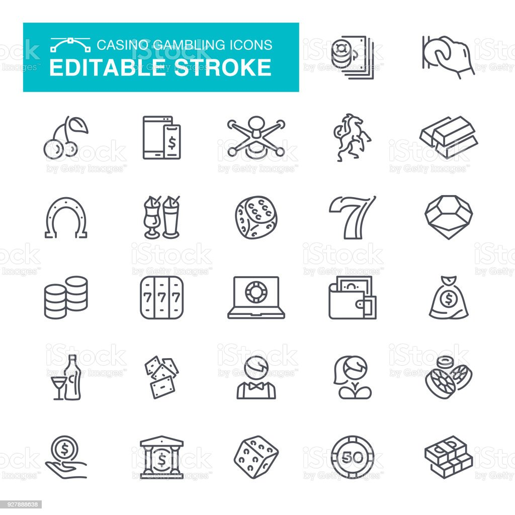 Casino Gambling Editable Stroke Icons vector art illustration