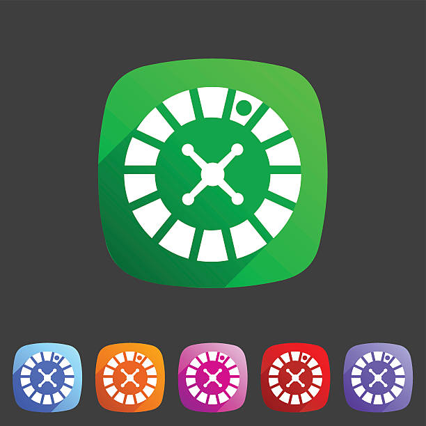 Casino gambling roulette wheel icon flat sign symbol logo vector art illustration