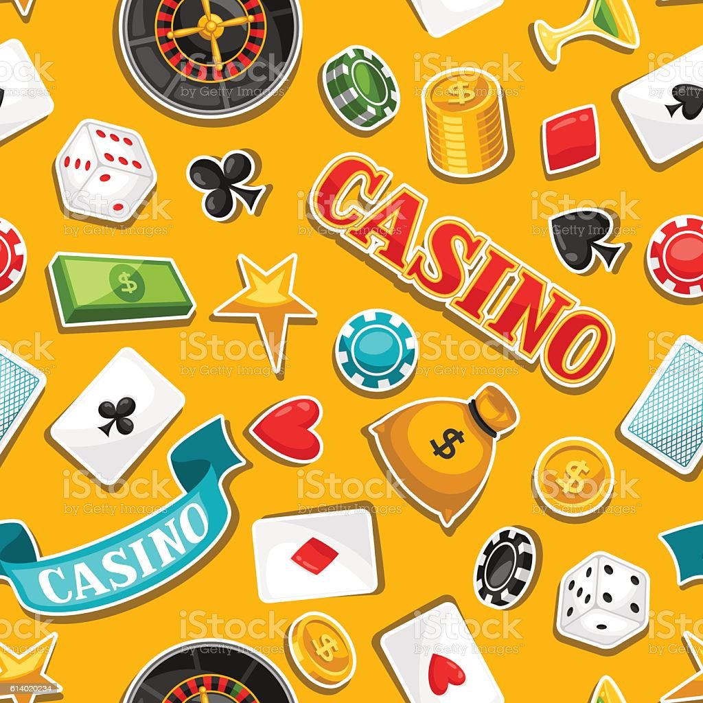 Casino gambling seamless pattern with game sticker objects vector art illustration
