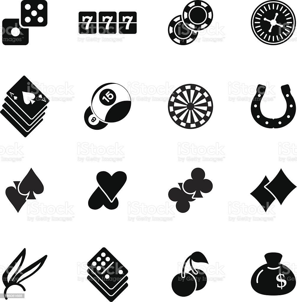 Casino Gambling Silhouette Icons royalty-free stock vector art