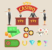 Casino gambling symbols set vector set with chance games and casino related characters and elements cartoon isolated vector illustration