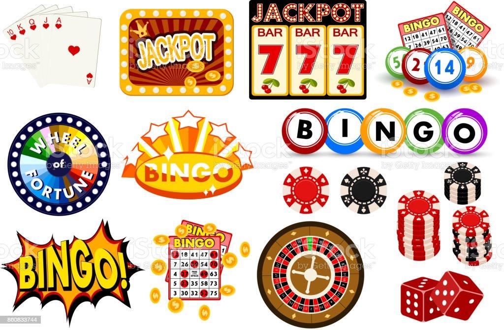 Para jogar no cassino ganhar sorte fortuna gamble jogar jogo objetos sucesso de ícones de possibilidade de risco vegas roleta ilustração vetorial de jogos - ilustração de arte em vetor