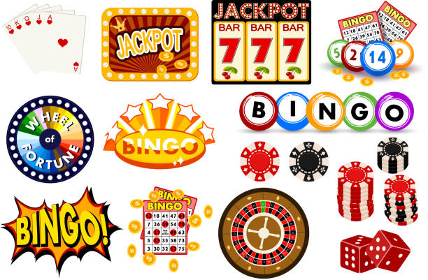 Casino gambling win luck fortune gamble play game objects risk chance icons success vegas roulette gaming vector illustration Casino gambling win luck fortune gamble play game objects risk chance icons success vegas roulette gaming vector illustration. Jackpot poker leisure entertainment. bingo stock illustrations