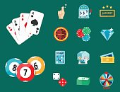Casino game poker gambler symbols blackjack cards money winning roulette joker vector illustration