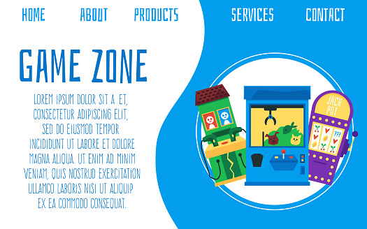 Casino game zone banner template with slot machines, flat vector illustration.