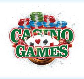 Vector Gambling Background with Gambling Chips, Dices, Poker Cards And Glossy Golden Crown