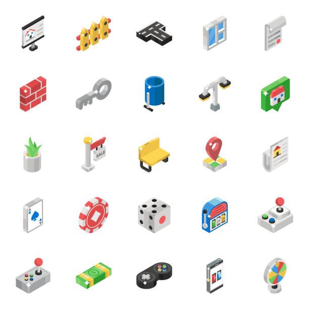 stockillustraties, clipart, cartoons en iconen met casino games isometrische vectors pack - board game outside
