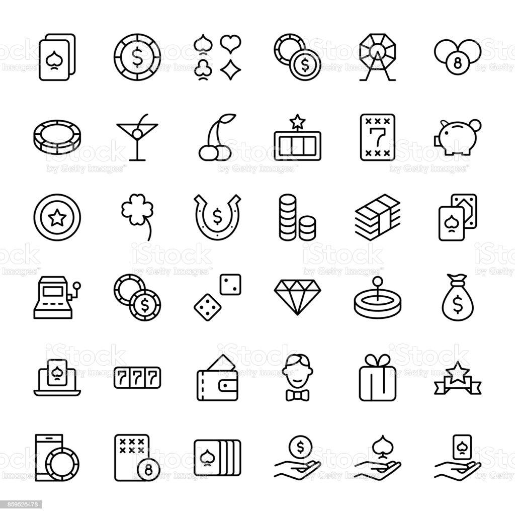 Cassino Conjunto de ícones - ilustração de arte em vetor