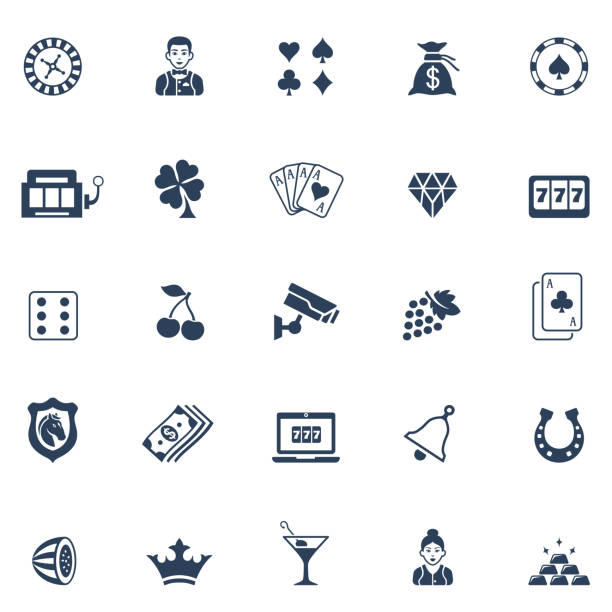 Casino Icon Set Set of casino icons casino stock illustrations