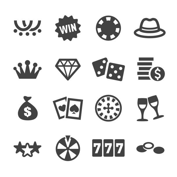 Casino Icons - Acme Series Casino, cards, lottery, gambling, roulette, leisure games, luck, gambling stock illustrations