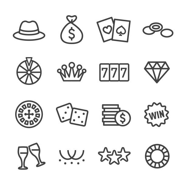 Casino Icons - Line Series Casino, Luck, gambling stock illustrations