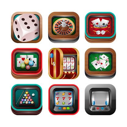 Casino Icons. Slot machine, Gambling, Number 7, Symbol, Billiard
