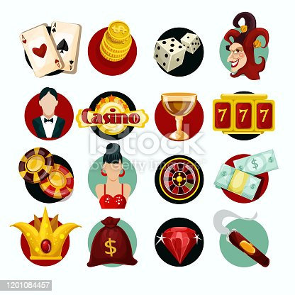 Casino icons set with roulette cigar jocker slot machine isolated vector illustration