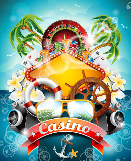 casino illustration theme with roulette wheel and shipping elements vector art illustration