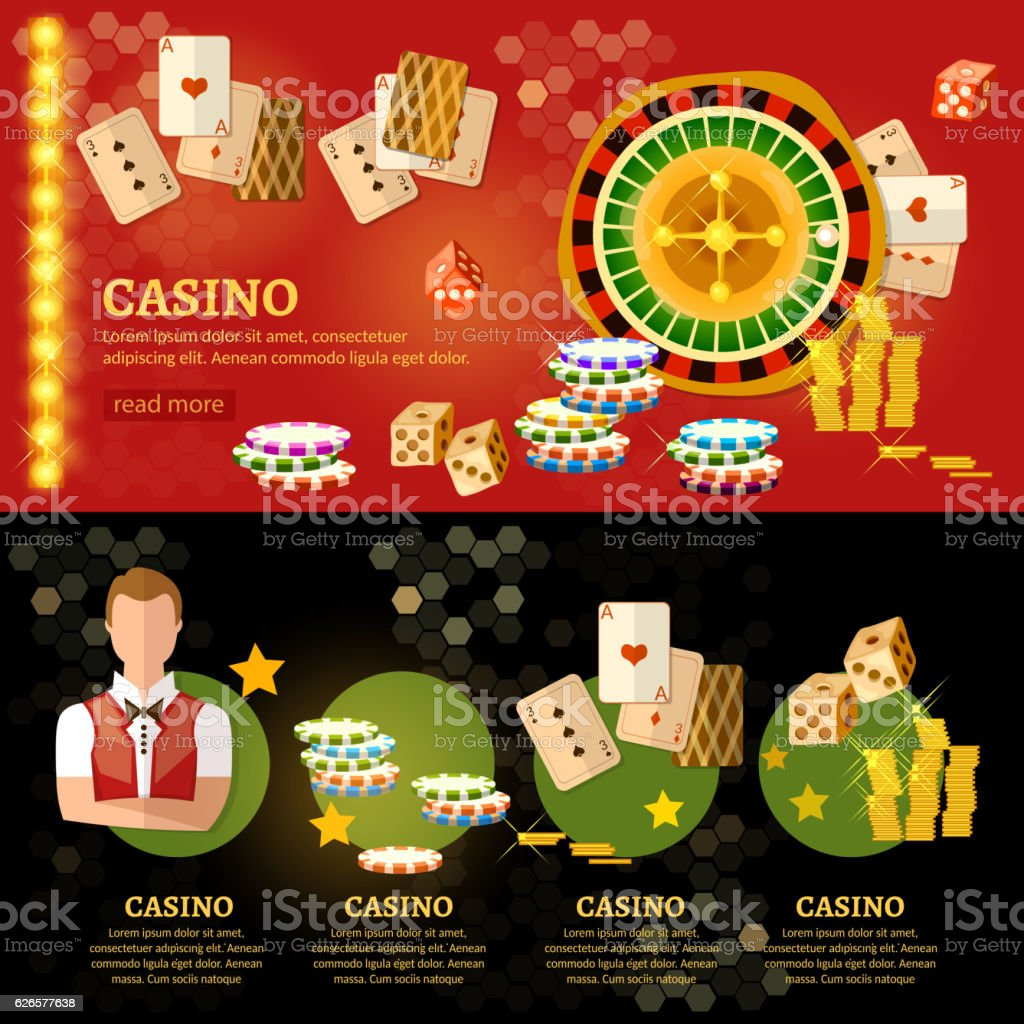 Casino infographic, playing cards baccarat table vector art illustration