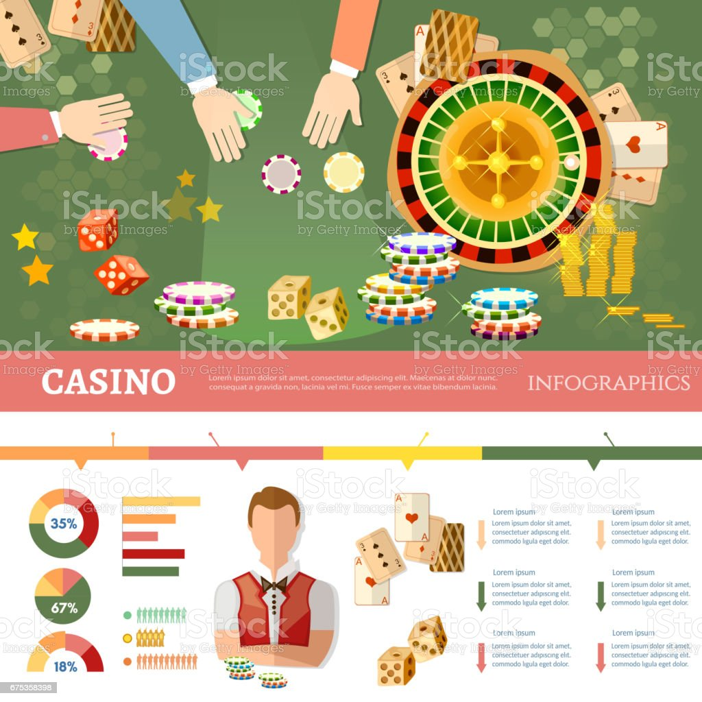 Casino infographics people play casino roulette playing cards baccarat table casino games vector illustration vector art illustration