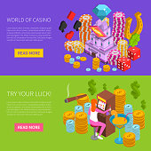 Casino horizontal isometric banners with gambling elements and girl at slot machine composition vector illustration