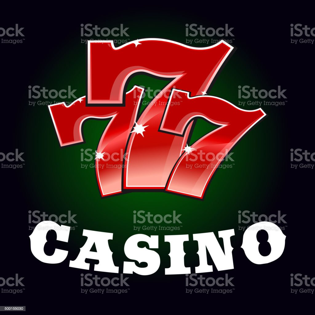 Casino jackpot icon with red lucky number vector art illustration