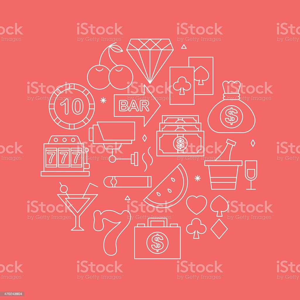 Casino line icon circle set vector art illustration