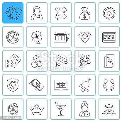 Casino Line Icons. Editable stroke.